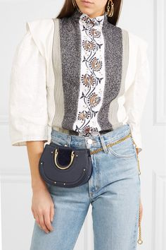 Pixie mini suede and textured-leather belt bag