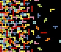 """""""Tetris Border Print"""" fabric by chronicallyuncool on Spoonflower - Custom fabric uses squares on a black grid with squares falling to the edge like the retro game Tetris. Pattern available under Creative Commons for customization."""