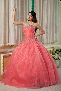 Ball Gown Sweetheart Satin Organza Crystal Floor Length Quinceanera Dress
