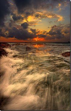 Sunset - Bangkok, Thailand, water, clouds, sun, beautiful, panorama, landscape, amazing, photo.
