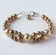 Golden Swarovski Crystal Pearl Bracelet by DesignsbyElenaMarie, $26.00