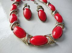 Vintage Coro Red Necklace and Earring Set by WintervilleWonders, $38.00