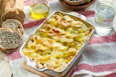 Torta baccalà porri patate