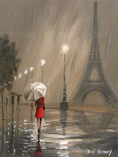 Pretty art painting idea in black, grey, white and a speck of red. PETE RUMNEY FINE ART MODERN ACRYLIC OIL ORIGINAL PAINTING PARIS DREAM RED COAT. Please also visit www.JustForYouPropheticArt.com for more colorful art you might like to pin or purchase. Thanks for looking!