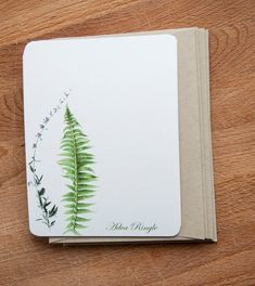 Fern and Flower Stationary Note Card Set Personalized   I love this botanical print of fern and flora because it is so simple and chic. This personalized stationary set includes cards and envelopes ready to be used whenever an occasion merits a little note.