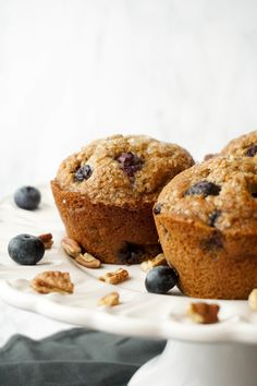 Bakery-Style Blueberry Pecan Muffins (whole-wheat, unrefined sugar) — Hungry Haley Whole Wheat Blueberry Muffins, Blue Berry Muffins, Jumbo Muffins, Pistachio Cake, Pecan Cake, Healthy Banana Bread, Best Brownies, Savory Breakfast, Chocolate Chip Oatmeal