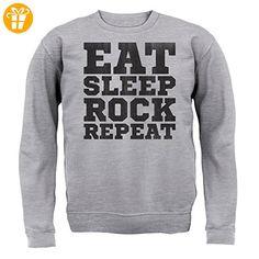 Eat Sleep Rock REPEAT - Kinder Pullover/Sweatshirt - Grau meliert - XXL (12-13 Jahre) (*Partner-Link)