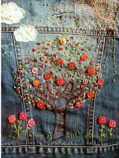 Beautiful embroidery on denim