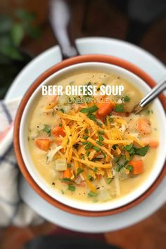 Best Beer Cheese Soup Recipe | Simple. Tasty. Good. Cheddar Cheese Recipes, Beer Cheese Soups, Easy Soup Recipes, New Recipes, Cooking Recipes, Gumbo Recipes, Veggie Recipes, Cauliflower Cheddar Soup, Lobster Bisque Soup