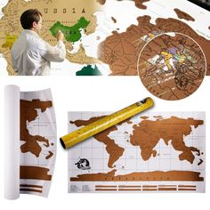 Travel Scratch Map Scratch OFF Where You've Been 88x52 cm World Map (EXPORT) via Lazada  $12