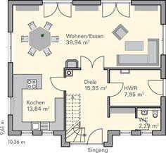 grundriss eg mit offenem wohnbereich gro er k che diele g ste wc und hwr perfekt f r junge. Black Bedroom Furniture Sets. Home Design Ideas
