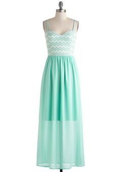 Honors, Minutes, Seconds Dress - Mint, White, Chevron, Maxi, Spaghetti Straps, Sweetheart, Wedding, Daytime Party, Beach/Resort, Pastel