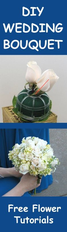 Rose Wedding Bouquets - Easy DIY Flower Tutorials  Learn how to make bridal bouquets, corsages, boutonnieres, table centerpieces and church decorations.  Buy fresh flowers and discount florist supplies. #weddingflowers