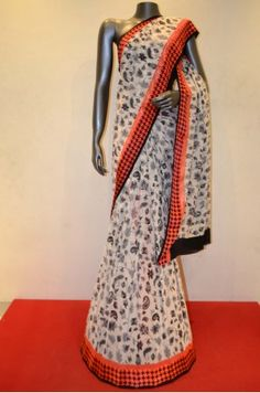 Floral Pinted Georgette Silk Saree With Contarst Satin Zari Border Product Code: SSJF03722