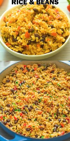 rice recipes This is THE ONLY Rice and Beans recipe youll ever need! Made with simple ingredients, this dish is filling and very tasty. Cooktoria for more deliciousness! Rice Recipes For Dinner, Side Dish Recipes, Mexican Food Recipes, Vegetarian Recipes, Cooking Recipes, Healthy Recipes, Vegan Vegetarian, Recipe For Refried Beans, Chickpea Rice Recipe
