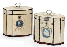 A NEAR PAIR OF GEORGE III IVORY AND TORTOISESHELL TEA CADDIES   CIRCA 1780   Each of decagonal form, with tortoiseshell stringing and both inset with blue jasperware medallions to the front, surrounded by cut-steel and mother-of-pearl bead decoration