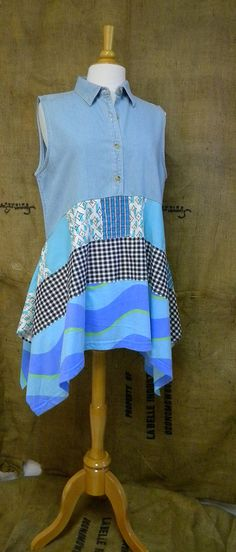 Handmade from cotton knit and woven fabrics.