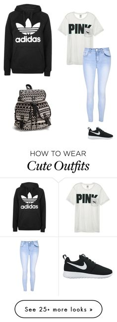 """""""School Outfit #1 Comfortable!"""" by ryanelizabeth28 on Polyvore featuring Victoria's Secret, Glamorous, Topshop, NIKE and NLY Accessories"""