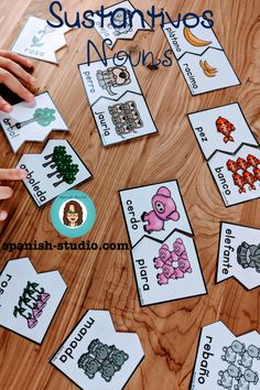 Games and activities to teach all about nouns in Spanish Singular And Plural Nouns, Nouns And Adjectives, Spanish Teaching Resources, Teaching Materials, Concrete And Abstract Nouns, Types Of Nouns, Common And Proper Nouns, Collective Nouns, Hands On Activities