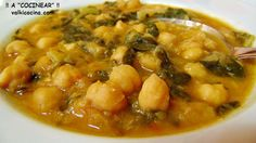 Garbanzos con acelgas Avocado Recipes, Healthy Recipes, Great Recipes, Dinner Recipes, Spanish Kitchen, Spanish Food, Bakery Recipes, Soup And Sandwich, Food For Thought