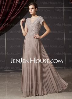 A-Line/Princess V-neck Floor-Length Chiffon Charmeuse Mother of the Bride Dresses With Ruffle Beading (008014237)
