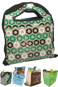 Reusable Shopping Bag Set: Four Bags In One! Environmentally Friendly Grocery Shopping Made Easy.