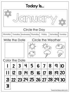 12 Printable Preschool Calendar Worksheet Pages in a PDF download.  Here is what you get!  12 Printable Preschool Calendar Worksheet Pages. Teach your child daily the month, day, date, and weather. Perfect to use laminated with dry erase markers.  This download prints 12 pages.  Please