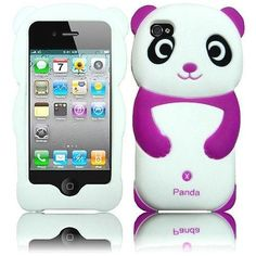 Dark Purple Panda Silicone Jelly Skin Case Back Cover for iPhone 4/4S