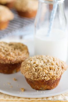 Banana Crumb Muffins - Filled with banana flavor and topped with a crunchy topping, these Banana Crumb Muffins are a great way to use up overripe bananas.