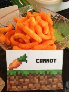 Minecraft Carrot Sign Tent for snacks treats food Birthday Party