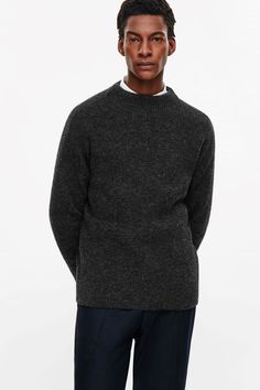 COS image 2 of Oversized knit jumper in Grey