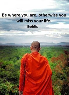 Be where you are , otherwise you will miss your life. Buddha