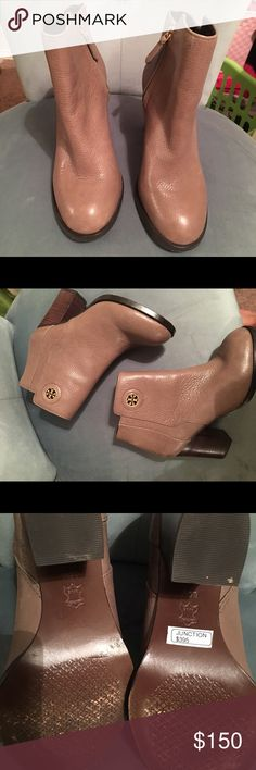 Tory Burch Booties Adorable, comfortable, soft leather in a color that matches everything! Worn only a few times to work inside. Great condition. Tory Burch Shoes Ankle Boots & Booties