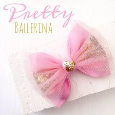 Pink ballerina tulle gold glitter sequin hair bow by SplendidBee