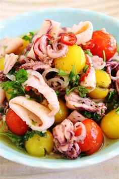 Salad of baby squid with mint, chilli and baby tomatoes