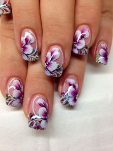 Love it! Love it! Nail Art Designs, Elegant Nail Designs, Ombre Nail Designs, Acrylic Nail Designs, One Stroke Nails, Colorful Nail Art, Wedding Manicure, Nail Art Blog, Flower Nail Art