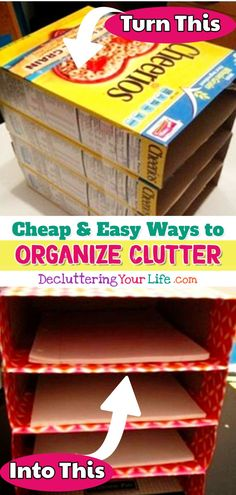 Cheap organization ideas for the home on a budget.  Easy DIY ideas to organize paper clutter at school, home, work, dorm, classroom for teachers, home office, desk, etc