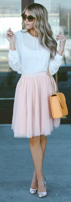 Cara Loren + effortlessly feminine + pale pink tulle skirt + sheer white blouse + pair of petite matching heels + pastel coloured + combination of colours   Jacket: Windsor Store, Skirt: Asos.