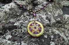 Pentacle cold worked dichroic/iridized glass jewel by Richard Elvis. Etsy Two superimposed Pentacles with single Pentacle on the reverse side. This jewel can have a custom beaded necklace or a stainless steel chain.
