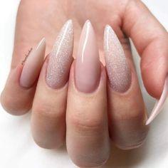 Nail art nail art nail polish gel nails acrylic - Nageldesign - Nail Art - Nagellack - Nail Polish - Nailart - Nails - Your HairStyle Acrylic Nails Glitter Ombre, Almond Acrylic Nails, Nude Nails, Silver Nails, Pointy Acrylic Nails, Pastel Nails, Stiletto Nails Glitter, Glitter Nikes, White Glitter Nails