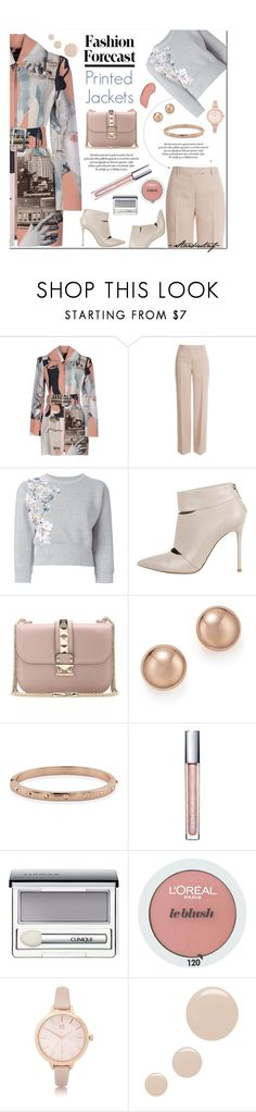 """Suddenly, a Jacket"" by stardustnf ❤ liked on Polyvore featuring Carven, Emilio Pucci, Philipp Plein, Gianvito Rossi, Valentino, Bloomingdale's, Clinique, L'Oréal Paris, River Island and Topshop"
