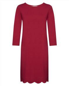 Jersey Scalloped Hem Dress,Red,original