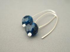 Monaco Blue Czech Glass Sterling Silver Earrings