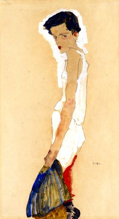 Egon Schiele SICH ENTKLEIDENDES MÄDCHEN (GIRL UNDRESSING) Dimensions: 22 X 12 in (55.88 X 30.48 cm) Medium: Gouache, watercolor and pencil on paper Creation Date: 1911