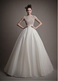 Buy discount Stunning Lace & Tulle High Collar Ball Gown Wedding Dress with Beadings & Rhinestones at Dressilyme.com