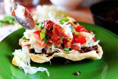 I LOVE these things- Indian Tacos! They combine two of my favorite things: fried bread dough and TACOS! Win-win? I think so.
