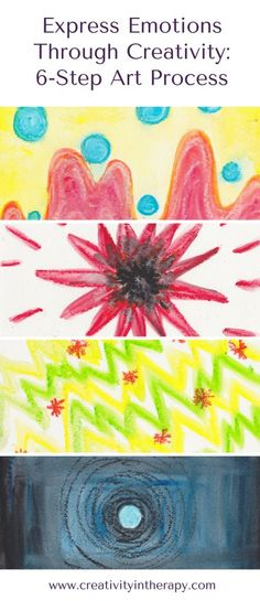 Express Emotions Through Art Therapy: 1. Scribble Warmup (2-5 min) 2. Happiness (5 min) 3. Anger (5 min) 4. Anxiety or Fear (5 min) 5. Sadness or Depression (5 min) 6. How you feel today (10-15 min)
