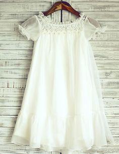 Sheer Ivory Knee-length Flower Girl Dress - Chiffon Short Sleeve 2016 - $59.99