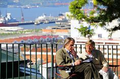 Actor Jeremy Irons and Director Bille August during the shooting of the film Night Train to Lisbon in Santa Catarina. Lisbon, Portugal.