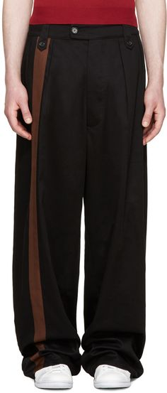 Raf Simons - Black Wide-Leg Band Trousers